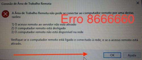Conexão de área de trabalho remota do Windows dá Erro 8666660