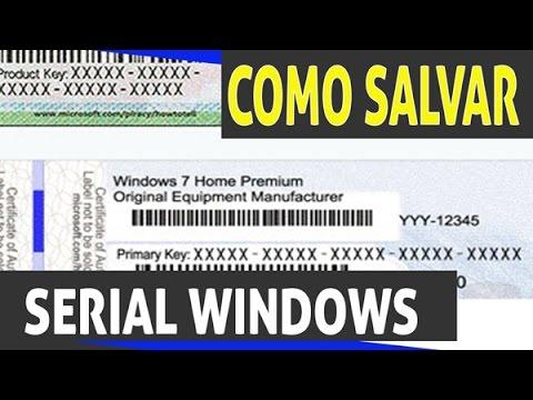 como salvar o serial do windows 7
